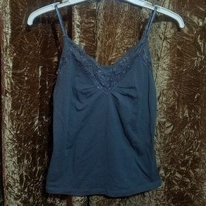 Old Navy Charcoal Gray Lace Trim Crop Tank Top Sm